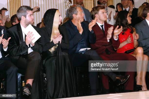 Guest Singer Lady Gaga Mario Testino actor Alan Ritchson and Karine Ferri attend the Atelier Versace show as part of Paris Fashion Week Haute Couture...