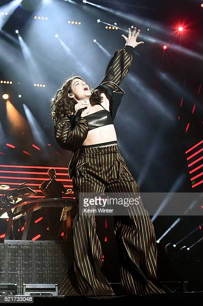 Guest singer Lorde performs onstage during the Disclosure show on day 2 of the 2016 Coachella Valley Music Arts Festival Weekend 1 at the Empire Polo...