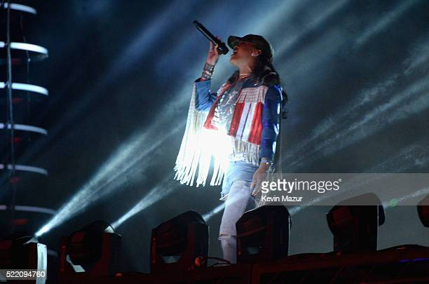 Guest singer Rihanna performs onstage with Calvin Harris during day 3 of the 2016 Coachella Valley Music And Arts Festival Weekend 1 at the Empire...