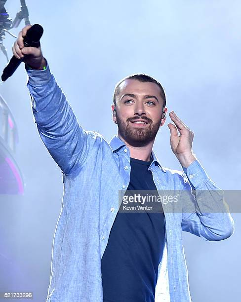 Guest singer Sam Smith performs onstage during the Disclosure show on day 2 of the 2016 Coachella Valley Music Arts Festival Weekend 1 at the Empire...