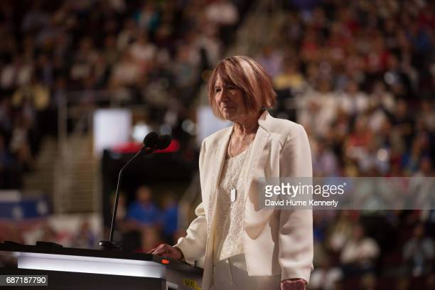 Guest speaker Pat Smith speaks from the podium during the Republican National Convention at Quicken Loans Arena Cleveland Ohio July 18 2016 Smith's...