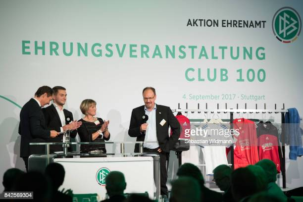 Guest Speakers during the Awarding Ceremony at the 20th anniversary of Volunteering for the Club 100 at MercedesBenz Museum on September 4 2017 in...
