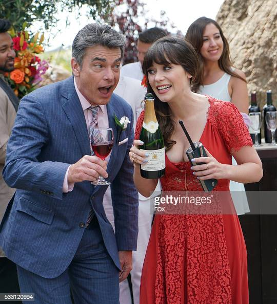 Guest star Peter Gallagher and Zooey Deschanel in the season finale 'Landing Gear' episode of NEW GIRL airing Tuesday May 10 on FOX