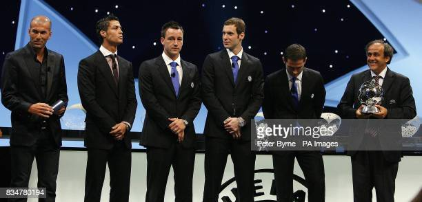 Guest star Zinedine Zidane with this years award winners Cristiano Ronaldo John Terry Peter Cech and Frank Lampard line up to receive their accolades...