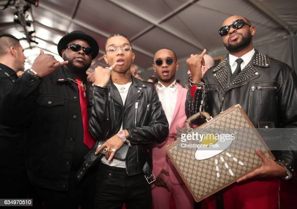 Guest Swae Lee and Slim Jxmmi of Rae Sremmurd and producer Mike Will MadeIt attend The 59th GRAMMY Awards at STAPLES Center on February 12 2017 in...