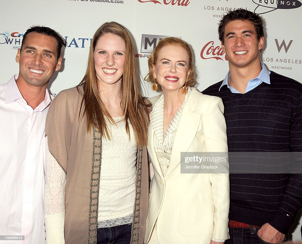 Guest, swimmer Missy Franklin, actor Nicole Kidman and swimmer Nathan Adrian attend the Gold Meets Gold Event, held at the Equinox Sports Club Flagship West Los Angeles location on Saturday, January 12, 2013 in Los Angeles, California.