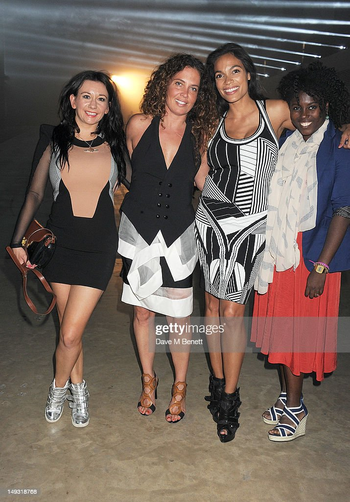 Guest, Tara Smith, Rosario Dawson and Abrima Erwich arrive at the Warner Music Group Pre-Olympics Party in the Southern Tanks Gallery at the Tate Modern on July 26, 2012 in London, England.
