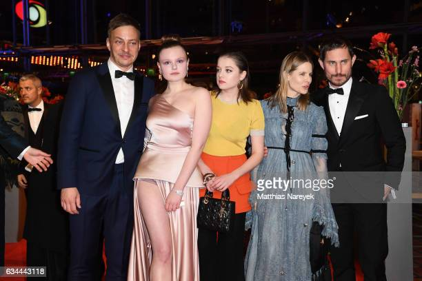 Guest Tom Wlaschiha Maria Dragus Jella Haase Aino Laberenz and Clemens Schick attend the 'Django' premiere during the 67th Berlinale International...