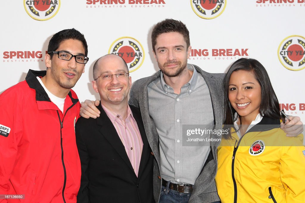 guest, Topher Grace (R) and City Year Los Angeles AmeriCorps members attend the City Year Los Angeles' Spring Break: Destination Education at Sony Pictures Studios on April 20, 2013 in Culver City, California.