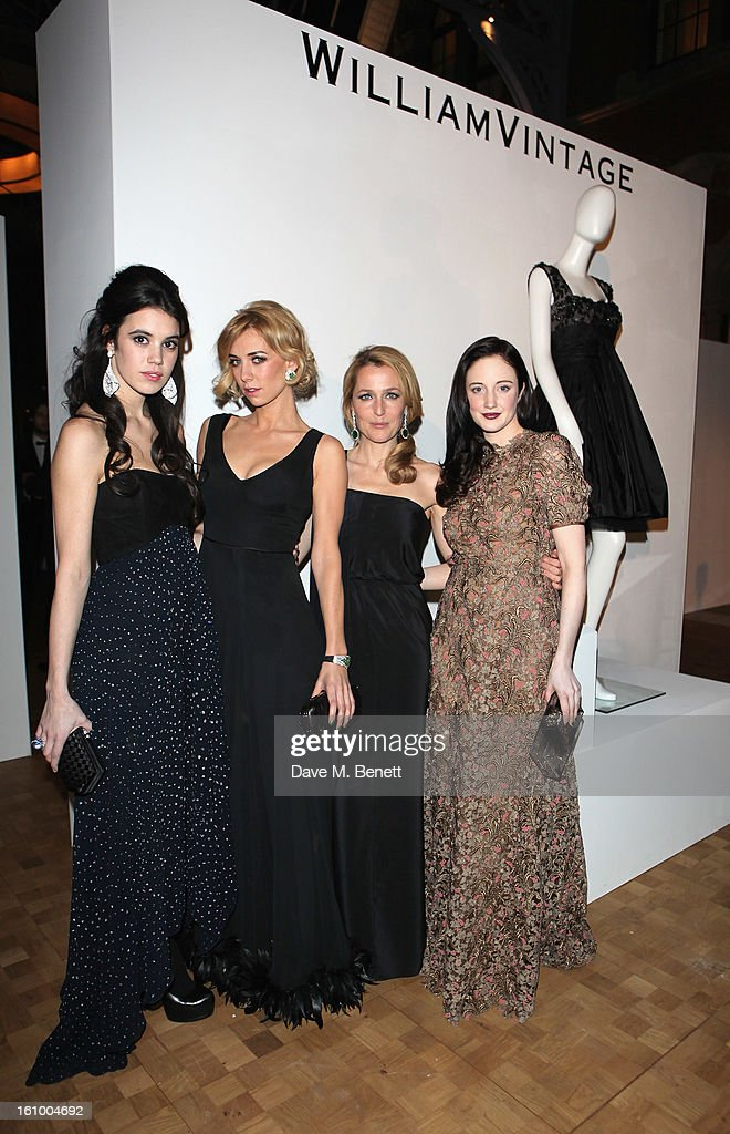Guest, <a gi-track='captionPersonalityLinkClicked' href=/galleries/search?phrase=Vanessa+Kirby&family=editorial&specificpeople=8282131 ng-click='$event.stopPropagation()'>Vanessa Kirby</a>, <a gi-track='captionPersonalityLinkClicked' href=/galleries/search?phrase=Gillian+Anderson&family=editorial&specificpeople=202894 ng-click='$event.stopPropagation()'>Gillian Anderson</a> and <a gi-track='captionPersonalityLinkClicked' href=/galleries/search?phrase=Andrea+Riseborough&family=editorial&specificpeople=4395380 ng-click='$event.stopPropagation()'>Andrea Riseborough</a> attends the WilliamVintage Dinner hosted by <a gi-track='captionPersonalityLinkClicked' href=/galleries/search?phrase=Gillian+Anderson&family=editorial&specificpeople=202894 ng-click='$event.stopPropagation()'>Gillian Anderson</a> and William Banks-Blaney in association with Adler at St Pancras Renaissance Hotel on February 8, 2013 in London, England.