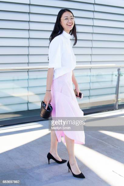 Guest Victoria Ngo wearing a Matt Lee top and skirt during MercedesBenz Fashion Week Resort 18 Collections at Carriageworks on May 16 2017 in Sydney...