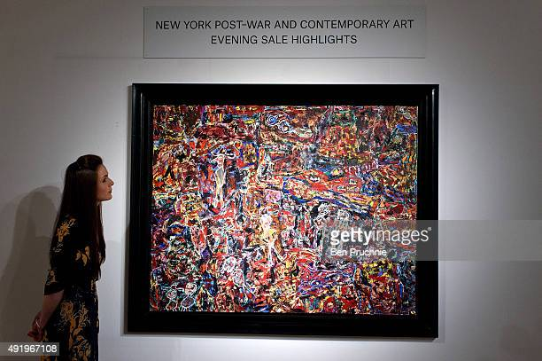 A guest views 'Cote Chipote' by artist Jean Dubuffet during the preview ahead of Christie's New York post war and contemporary art sale on October 9...