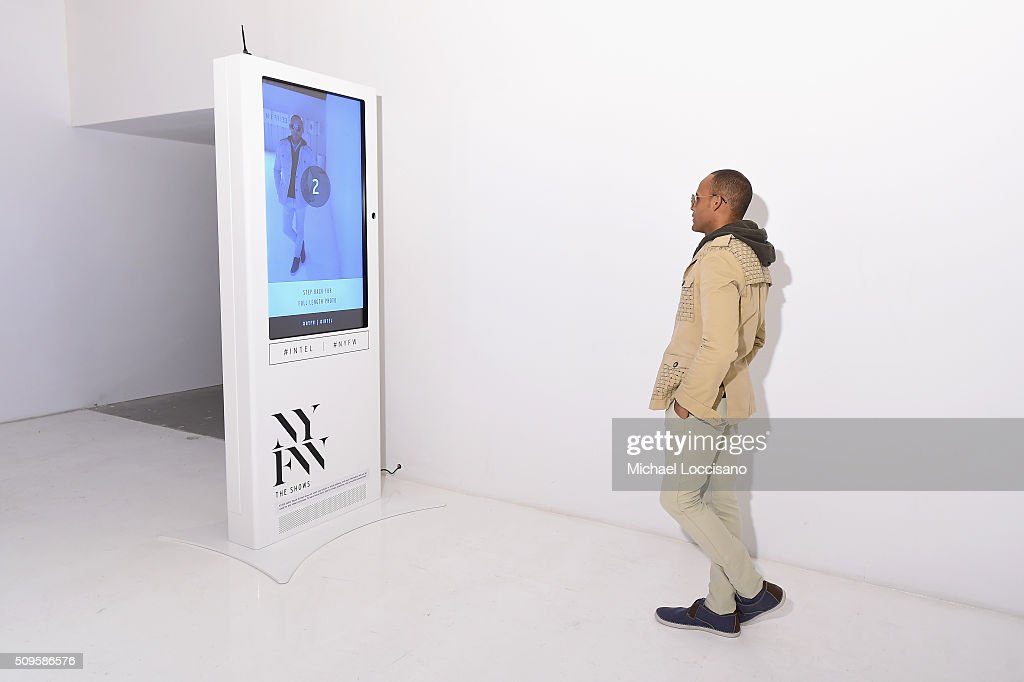 A guest views the display at New York Fashion Week Fall 2016 at Clarkson Sq on February 12, 2016 in New York City.