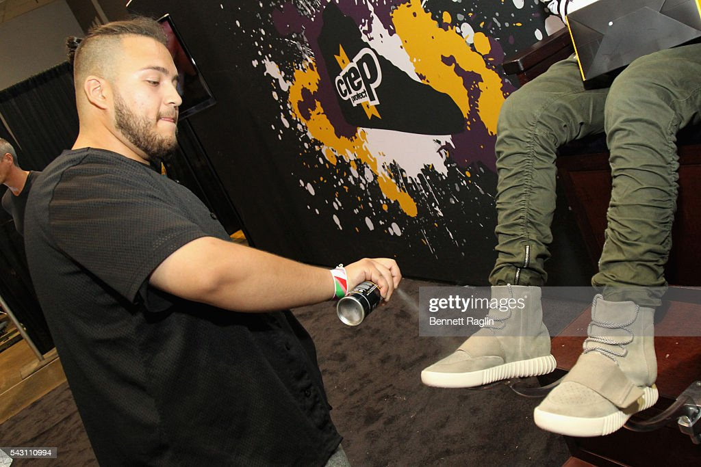 A guest visits the Crep Protect stand at SneakerCon presented by Sprite, Rush Card, & FDA during the 2016 BET Experience at Los Angeles Convention Center on June 25, 2016 in Los Angeles, California.