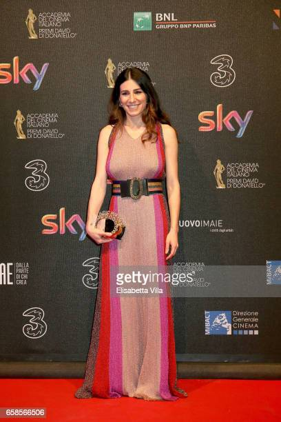 A guest walks the red carpet of the 61 David Di Donatello on March 27 2017 in Rome Italy