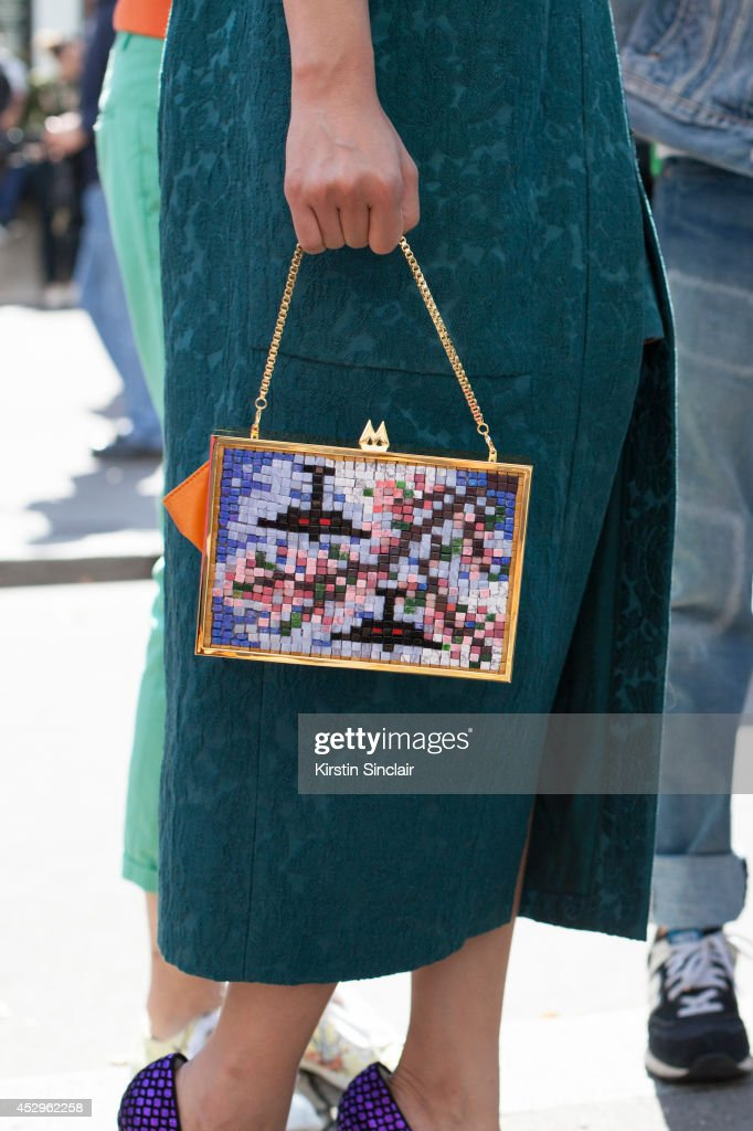 A guest wearing a colourful bag day 3 of Paris Haute Couture Fashion Week Autumn/Winter 2014, on July 8, 2014 in Paris, France.
