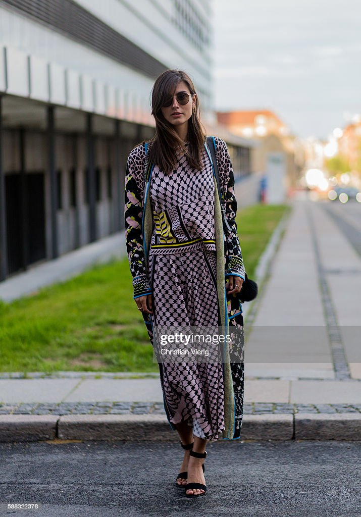 A guest wearing a dress outside Lala Berlin during the first day of the Copenhagen Fashion Week Spring/Summer 2017 on August 10, 2016 in Copenhagen, Denmark.
