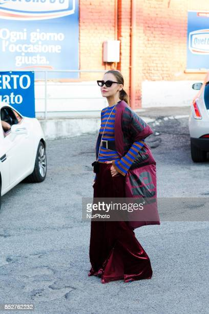 A guest wearing a wide leg velvet pant is seen outside Missoni during Milan Fashion Week Spring/Summer 2018 on September 23 2017 in Milan Italy