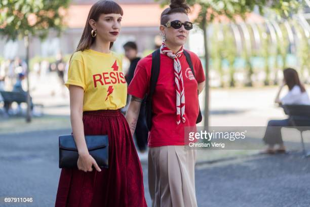 A guest wearing a yellow tshirt velvet skirt red tshirt is seen outside Malibu 1992 during Milan Men's Fashion Week Spring/Summer 2018 on June 19...