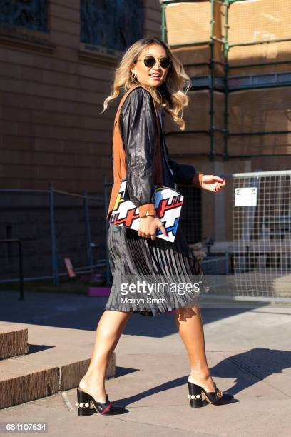 Guest wearing Gucci shoes during MercedesBenz Fashion Week Resort 18 Collections at Carriageworks on May 17 2017 in Sydney Australia
