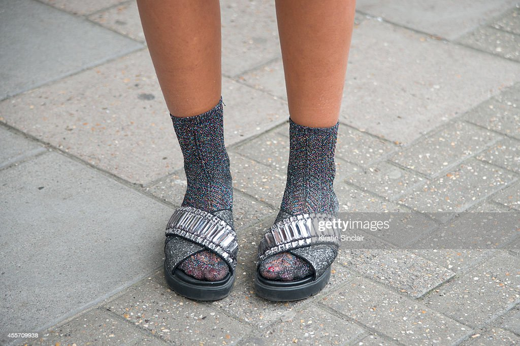 Guest wearing socks with sandals on day 3 of London Collections Women on September 14 2014 in London England