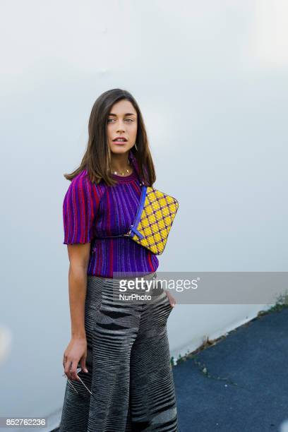 A guest wearing wide leg pants is seen outside Missoni during Milan Fashion Week Spring/Summer 2018 on September 23 2017 in Milan Italy