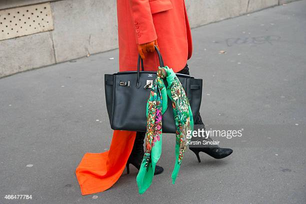 A guest wears a Hermes bag on day 7 of Paris Collections Women on March 09 2015 in Paris France