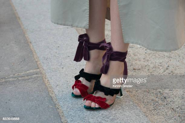 A guest wears Attico shoes day 2 of Paris Haute Couture Fashion Week Autumn/Winter 2017 on July 3 2017 in Paris France