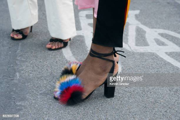 A guest wears Loeffler Randall shoes day 2 of Paris Haute Couture Fashion Week Autumn/Winter 2017 on July 3 2017 in Paris France