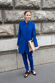 A guest wears Stella McCartney jacket Marni shoes and JW Anderson bag on day 7 of Paris Collections Women on March 09 2015 in Paris France