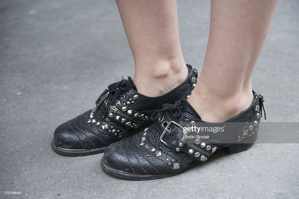 A guest wears studded brogues sighting on day 4 of Paris Collections: Womens Haute Couture on July 04, 2013 in Paris, France.