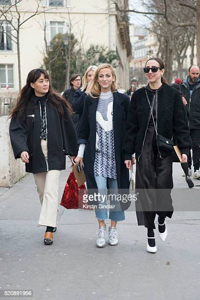 A guest with Fashion Editor at Refinery 29 Annie Georgia Greenberg and another guest on day 8 during Paris Fashion Week Autumn/Winter 2016/17 on...