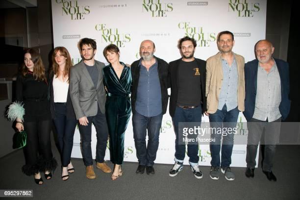 A guest Yamee Couture Francois Civil Ana Girardot Cedric Klapisch Pio Marmai JeanMarc Roulot and JeanMarie Winling attend 'Ce qui Nous Lie' Premiere...