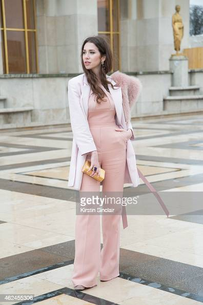 Guest Zarina Rasueva wears all Elie Saab on day 4 of Paris Haute Couture Fashion Week Spring/Summer 2015 on January 28 2015 in Paris France