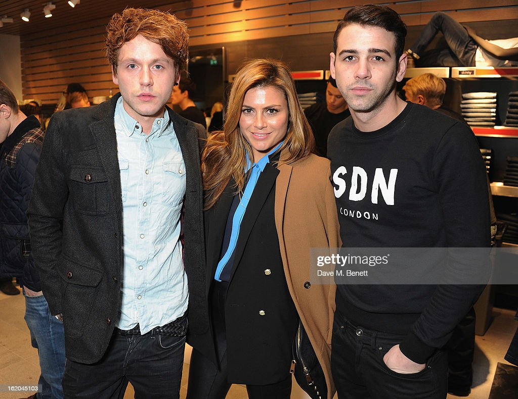 Guest, Zoe Hardman and Jay Camilleri attend the Calvin Klein Jeans launch party at their Regent Street store on February 18, 2013 in London, England.