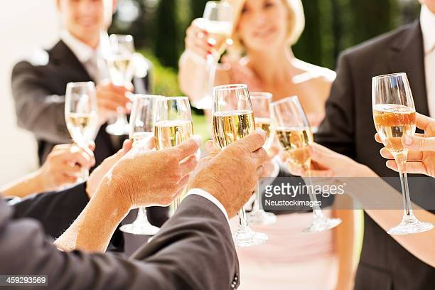 Guests And Couple Toasting Champagne Flutes At Reception