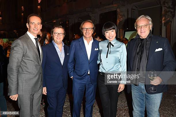 Guests Andrea Della Valle Angelica Cheung and Diego Della Valle attend Vogue China 10th Anniversary at Palazzo Reale on September 28 2015 in Milan...