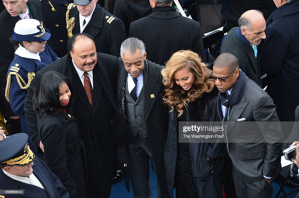 Guests (L-R) Andrea Waters, Martin Luther King III, Rev. Al Sharpton, Beyonce Knowles and her husband Jay-Z before the start of the 57th Presidential Inauguration Ceremony at the United States Capitol on Monday, January 21, 2013. President Barack Obama was sworn in for his second term of office.