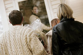 Guests approaching house