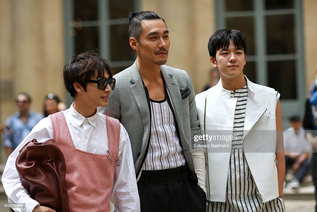 Guests are seen, before the Sean Suen show, during Paris Fashion Week Menswear Spring/summer 2017, on June 26, 2016 in Paris, France.