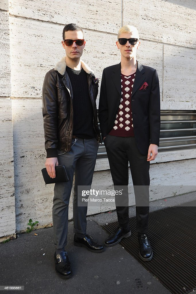 Guests are seen during Milan Fashion Week Menswear Autumn/Winter 2014 on January 12, 2014 in Milan, Italy.