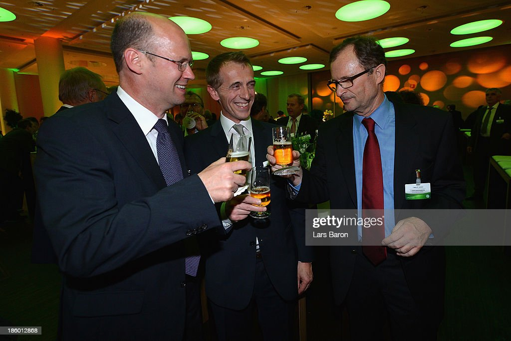 Guests are seen during the get-together after DFB Bundestag Day 1 at NCC Nuremberg on October 25, 2013 in Nuremberg, Germany.