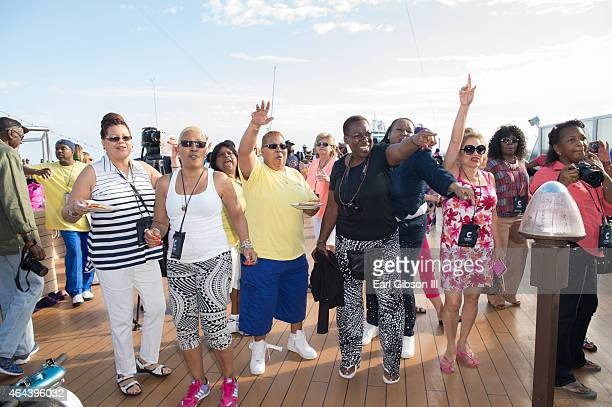 Guests are seen during 'The Hippest Trip At Sea' Soul Train Cruise on February 22 2015 during a cruise that departs from Fort Lauderdale Florida and...