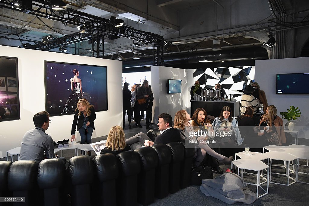 Guests are seen mingling around during New York Fashion Week: The Shows at Moynihan Station on February 12, 2016 in New York City.