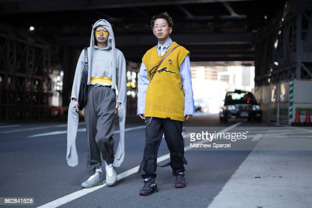 Guests are seen on the street attending Tokyo Fashion Week on October 18 2017 in Tokyo Japan