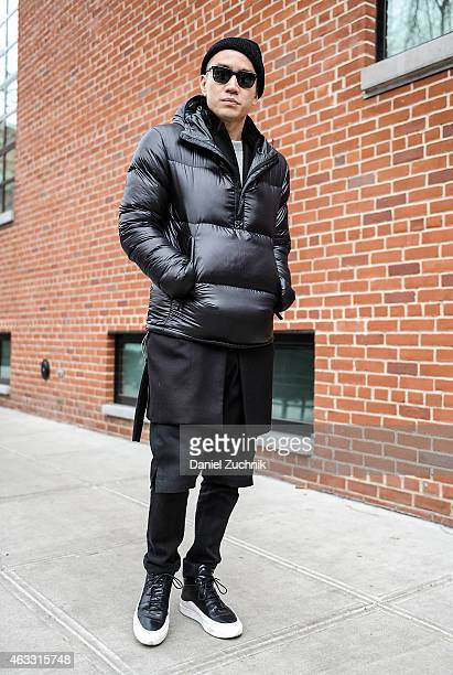 Guests are seen outside the Duckie Brown show on February 12 2015 in New York City