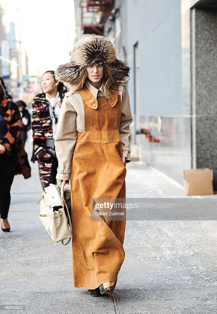 Guests are seen outside the DVF show on February 15, 2015 in New York City.