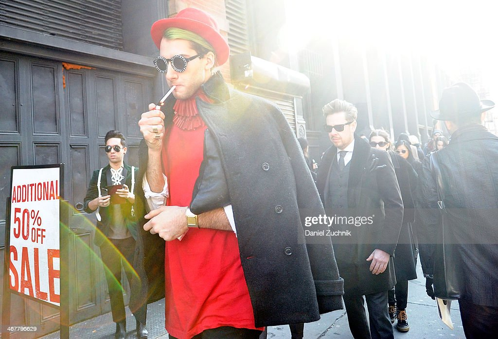 Guests are seen outside the Jason Wu show on February 7, 2014 in New York City.