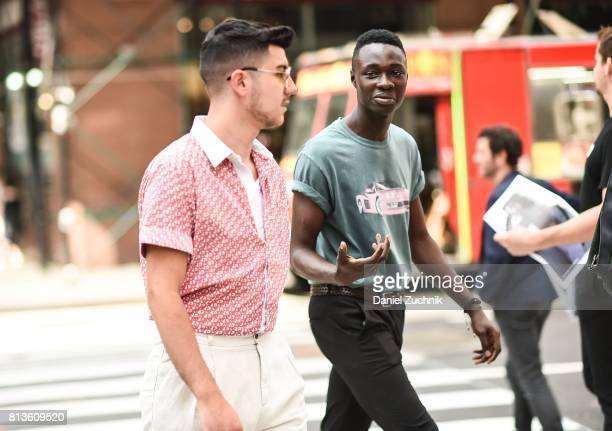 Guests are seen outside the Matiere show during New York Fashion Week Men's S/S 2018 at Skylight Clarkson Sq on July 12 2017 in New York City