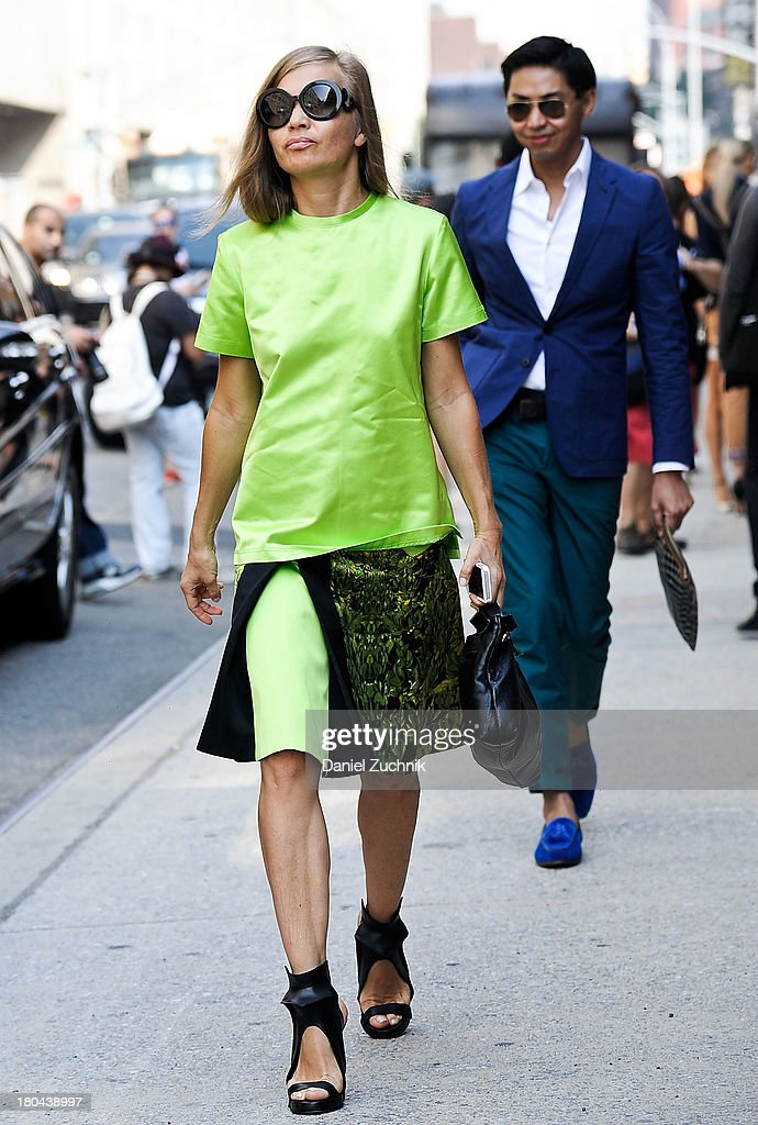 Guests are seen outside the Ralph Lauren show on September 12, 2013 in New York City.